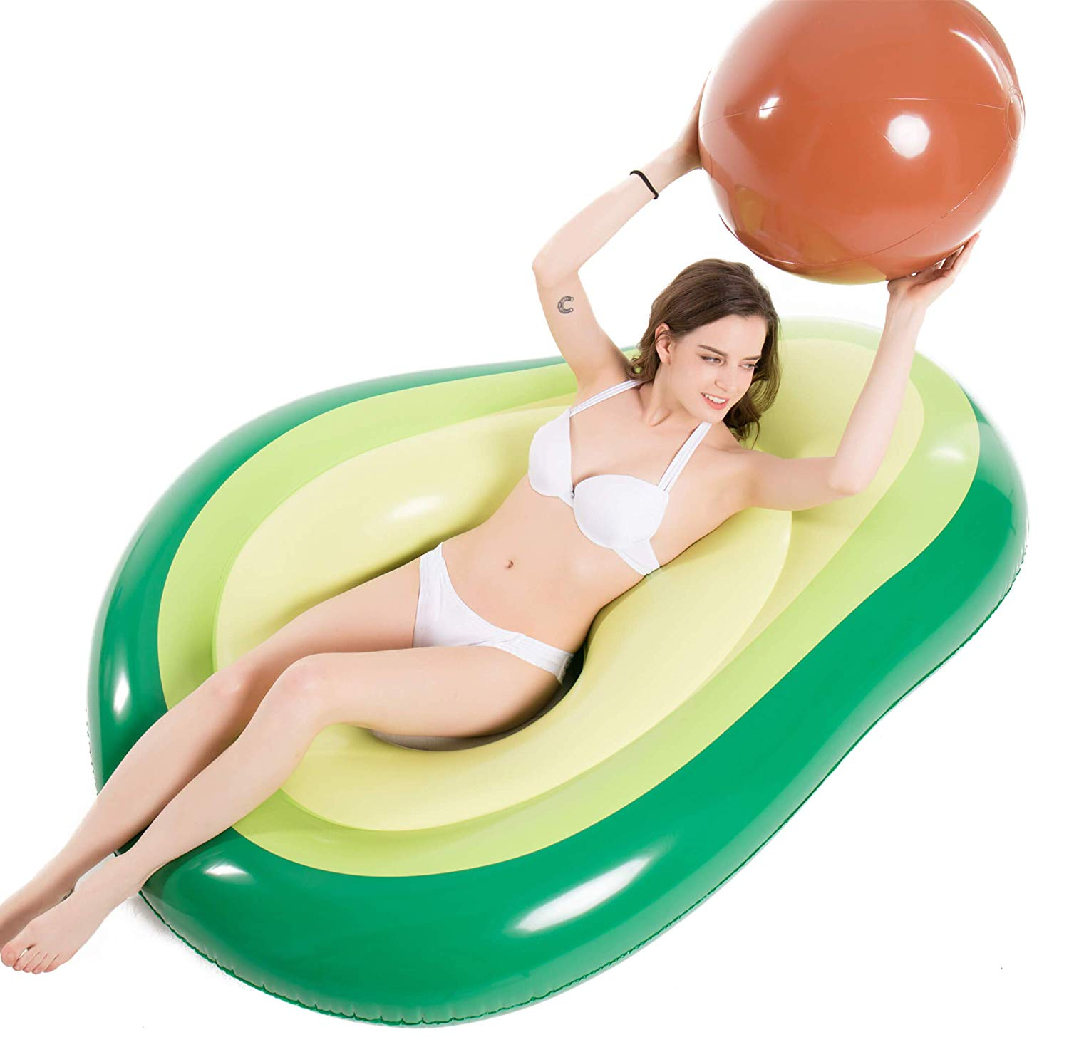 Jasonwell Inflatable Avocado Pool Float Floatie with Ball Water Fun Large Blow Up Summer Beach Swimm