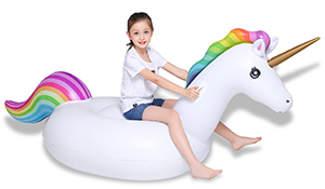 Jasonwell Big Inflatable Unicorn Pool Float Floatie Ride On with Fast Valves Large Rideable Blow Up